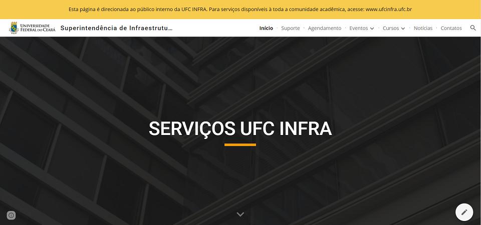 Imagem de direcionamento de página interna para colaboradores da UFC INFRA
