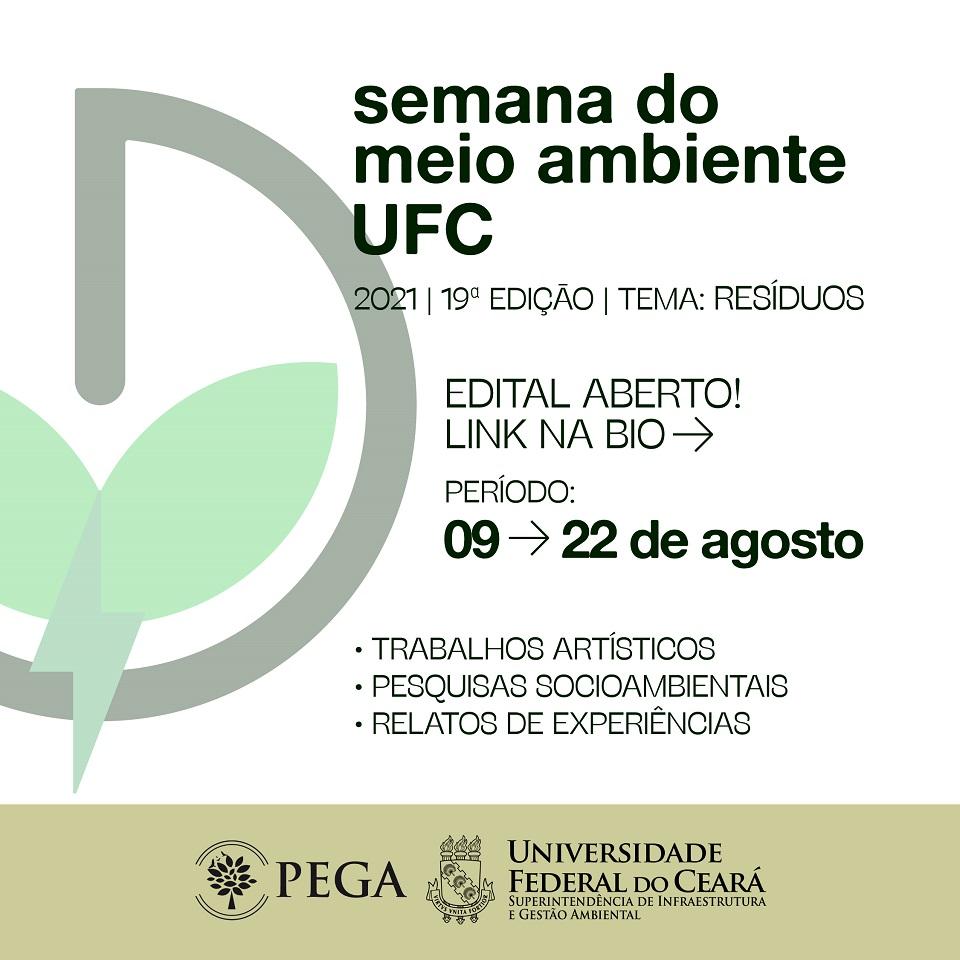 Cartaz com data de inscrição na semana do meio ambiente 2021. Datas: 09 a 22 de agosto de 2021